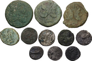 obverse: The Roman Republic. Multiple lot of eleven (11) AR and AE coins (one fourrée)
