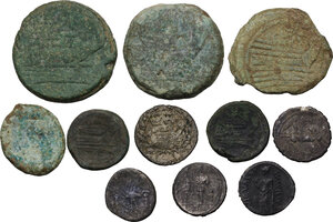 reverse: The Roman Republic. Multiple lot of eleven (11) AR and AE coins (one fourrée)