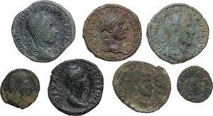 obverse: Roman Empire.. Multiple lot of seven (7) AE coins: AE Quardrans of Claudius, AE Dupondius of Trajan, AE As of Faustina I, 2 AE Sestertii of Gordian III and Philip I, AE Follis of Maxentius and AE 19 mm. of Constantine I