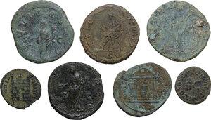 reverse: Roman Empire.. Multiple lot of seven (7) AE coins: AE Quardrans of Claudius, AE Dupondius of Trajan, AE As of Faustina I, 2 AE Sestertii of Gordian III and Philip I, AE Follis of Maxentius and AE 19 mm. of Constantine I