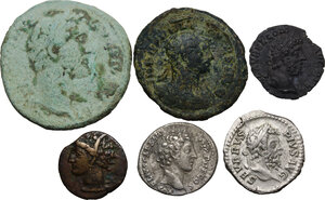 obverse: The Roman Empire.. Multiple lot of six (6): Five AE and AR coins of Roman Empire. In addiction Punic AE