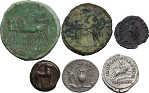 reverse: The Roman Empire.. Multiple lot of six (6): Five AE and AR coins of Roman Empire. In addiction Punic AE