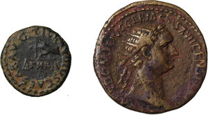 obverse: Roman Empire. Lot of 2 AE denominations, including: Claudius and Domitian