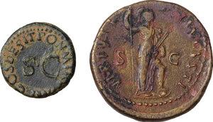 reverse: Roman Empire. Lot of 2 AE denominations, including: Claudius and Domitian
