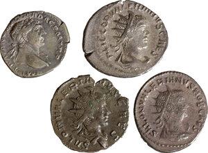 obverse: Roman Empire. Lot of 4 AR denominations, including: Trajan, Saloninus and Valerian II