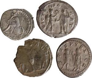 reverse: Roman Empire. Lot of 4 AR denominations, including: Trajan, Saloninus and Valerian II