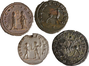 reverse: Roman Empire. Lot of 4 Antoniniani, including: Probus, Gallienus, Saloninus and Salonina
