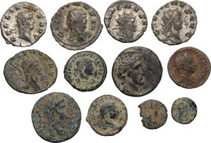 obverse: Multiple lot of twelve (12) coins: 7 AE of various mints and 5 BI Antoninianii