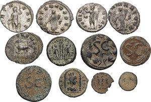 reverse: Multiple lot of twelve (12) coins: 7 AE of various mints and 5 BI Antoninianii