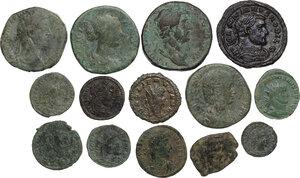 obverse: Roman Empire. . Lot of 14 unclassified AE denominations, including: Hadrian, Maximian, Lucilla, Commodus, Julia Mamaea, Gallien, Constantine I, Constantius II