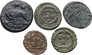 reverse: Late Roman Empire.. Multiple lot of five (5) AE Fractionals