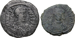 obverse: The Byzantine Empire.. Multiple lot of two (2) unclassified AE Follis