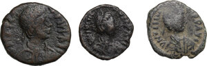 obverse: Byzantine Empire and Migration Period.. Lot of 3 unclassified AE denominations, including: Decanummium of Justinian I, Sicily mint and Pentanummium of Theoderic