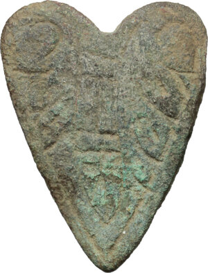 obverse: Bronze applique in the shape of heart.  Early Medieval.  26 x 20 mm