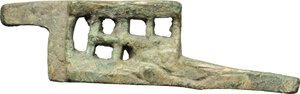 obverse: Bronze padlock latch.  Roman period, 1st-3rd century AD.  68 x 19 mm