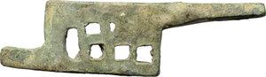 reverse: Bronze padlock latch.  Roman period, 1st-3rd century AD.  68 x 19 mm