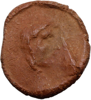 obverse: Roman terracotta seal/bulla for papyrus scroll with bust of Hercules.  1st-3rd century AD