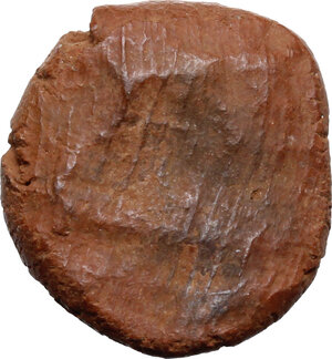 reverse: Roman terracotta seal/bulla for papyrus scroll with bust of Hercules.  1st-3rd century AD