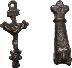 obverse: Medieval AE item with fox head and bronze cross (17th-18th century)