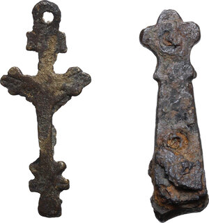 reverse: Medieval AE item with fox head and bronze cross (17th-18th century)