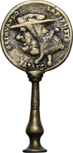 reverse: Antipapal satirical medal mounted on handle