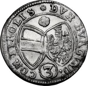 reverse: Austria.  Ferdinand Karl (1646-1662). AR 3 Kreuzer 1643, Hall mint