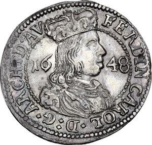 obverse: Austria.  Ferdinand Karl (1646-1662). AR 3 Kreuzer 1648, Hall mint