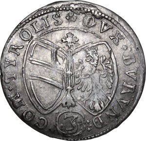 reverse: Austria.  Ferdinand Karl (1646-1662). AR 3 Kreuzer 1648, Hall mint