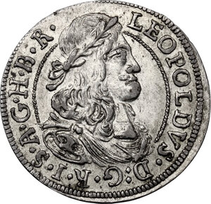 obverse: Austria.  Leopold I (1657-1705). AR 3 Kreuzer 1675, Hall mint
