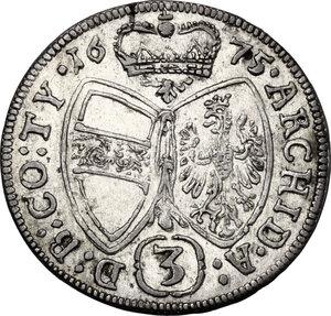 reverse: Austria.  Leopold I (1657-1705). AR 3 Kreuzer 1675, Hall mint