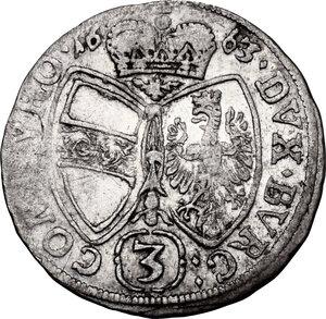 reverse: Austria.  Sigismund Franz (1662-1665). AR 3 Kreuzer 1663, Hall mint