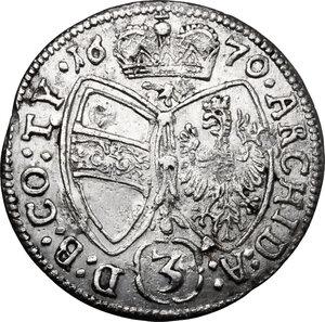 reverse: Austria.  Leopold I (1657-1705). AR 3 Kreuzer 1679, Hall mint