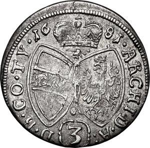 reverse: Austria.  Leopold I (1657-1705). AR 3 Kreuzer 1681, Hall mint