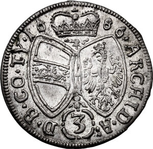 reverse: Austria.  Leopold I (1657-1705). AR 3 Kreuzer 1686, Hall mint
