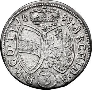 reverse: Austria.  Leopold I (1657-1705). AR 3 Kreuzer 1688, Hall mint