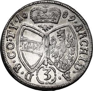 reverse: Austria.  Leopold I (1657-1705).. AR 3 Kreuzer 1689, Hall mint