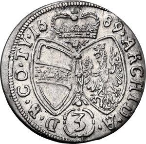 reverse: Austria.  Leopold I (1657-1705). AR 3 Kreuzer 1689, Hall mint