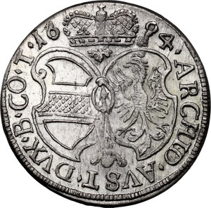 reverse: Austria.  Leopold I (1657-1705).. AR 3 Kreuzer, 1694, Hall in Tirol mint