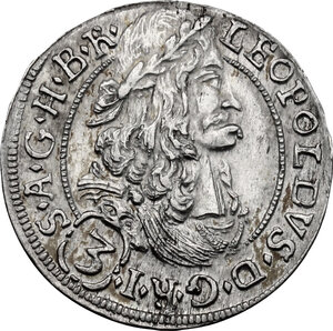 obverse: Austria.  Leopold I (1657-1705). AR 3 Kreuzer 1694, Hall mint