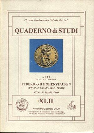 obverse: A.A.V.V. -  Atti incontro culturale  Federico II Hohenstaufen.  Formia, 2000.  Pp. 79, tavv. e ill. nel testo. ril. ed. buono stato.