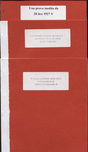 obverse: A.A.V.V. – Lotto di 3 opuscoli riguardanti la monetazione di V. E. III.  Con ill. nel testo, buono stato.