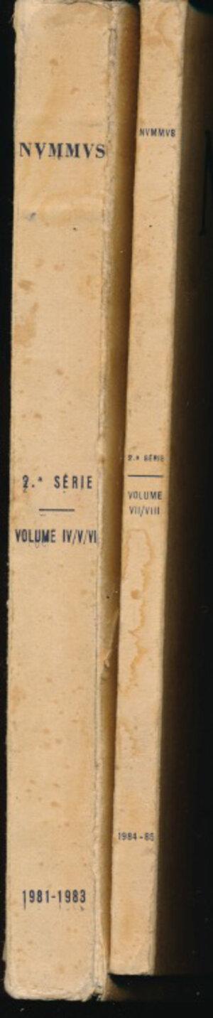 obverse: AA.VV. - Sociedad Portuguesa de Numismatica. Nummus 2 volumi. 2a serie Voll. IV,V,VI,VII,VIII. Porto, 1981-1985, pp. 365 + 161, con tavole in b/n. Discreto stato.