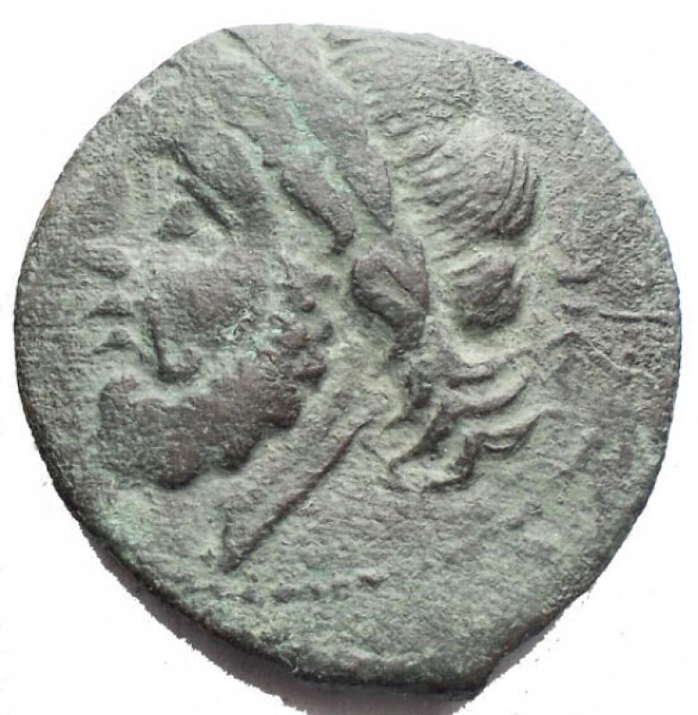 reverse: Mondo Greco - Apulia Arpi (III sec. a.C.) Obolo.D/ Testa di Zeus a sinistra.R/ Cinghiale a destra, sopra punta di freccia. Gr. 7,01. AE.SNG ANS 635.BB/BB+. Patina verde