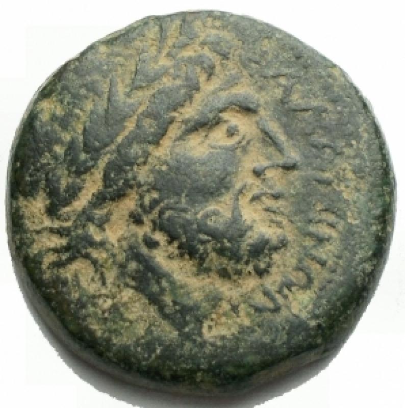 obverse: Mondo Greco - Apulia. Salapia.ca. 225-210 a.C.AE.D/ Testa laureata di Zeus a destra. Davanti, AAINN.R/ Cinghiale che corre a destra. Sopra corona. In esergo TIOY.HN Italy 691. SNG ANS 736.Pesogr. 7,14.Diametro mm. 20,6.BB-qSPL/BB+.Splendida patina verde. Intonso.R.