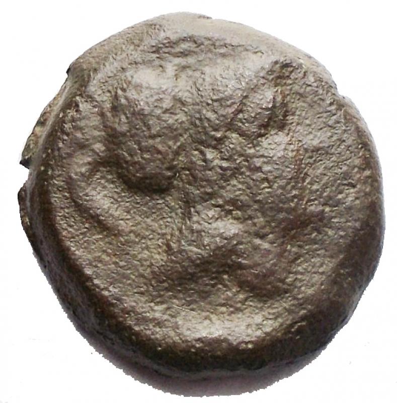 obverse: Mondo Greco -Apulia. Teate.ca. 217 a.C.Oncia.AE.D/ Testa di Athena a destra.R/ TIATI. Civetta stante a destra.HNI (Italy) 702 d.Pesogr. 3,98.Diametromm. 15,6 x 16,2.BB.