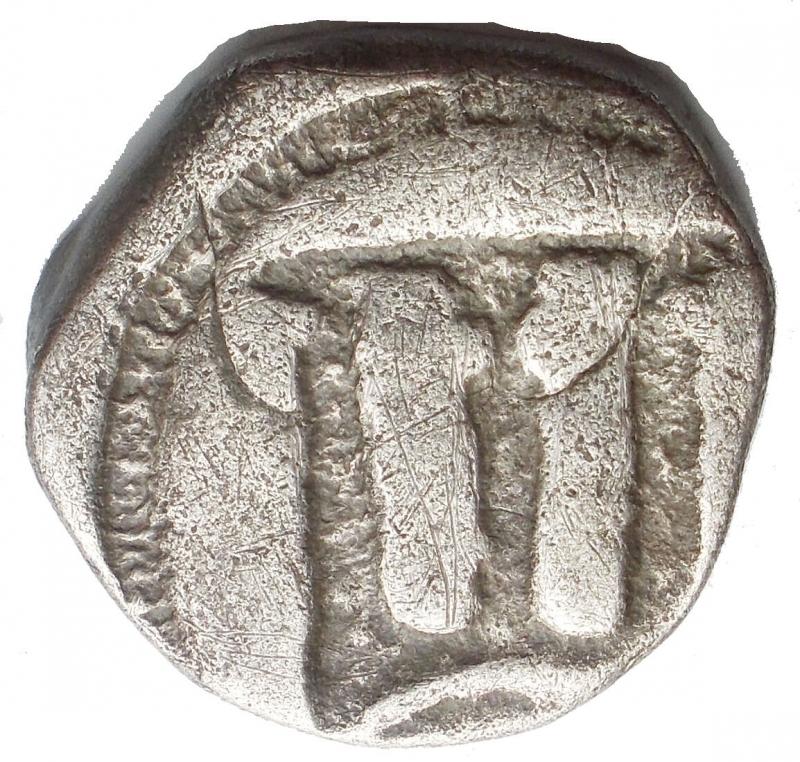reverse: Mondo Greco - Bruttium. Crotone. (Circa 500-490 AC). Nomos. D/ Tripode, gambe terminante a zampe di leone; cicogna a sinistra. R/ Incuso. AR. 7,44 gr. Attianese 45; SNG ANS 259; HN Italy 2102. qBB