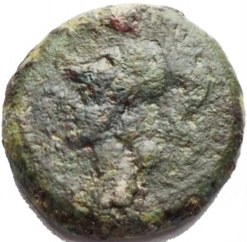 obverse: Mondo Greco - Campania. Cales. Ca 265-240 AC. Ae 19,5 mm. D/ Testa elmata di Athena a sinistra. R/ Gallo stante a destra, davanti etnico. g 7,7. qBB.Patina verde.