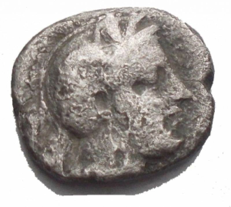 obverse: Mondo Greco - Lucania.Thurium.Diobolo Ag. IV - III Sec a.C.D/ Testa di Athena a destra.R/ Toro cozzante a destra. gr 0,95