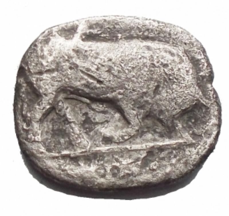 reverse: Mondo Greco - Lucania.Thurium.Diobolo Ag. IV - III Sec a.C.D/ Testa di Athena a destra.R/ Toro cozzante a destra. gr 0,95