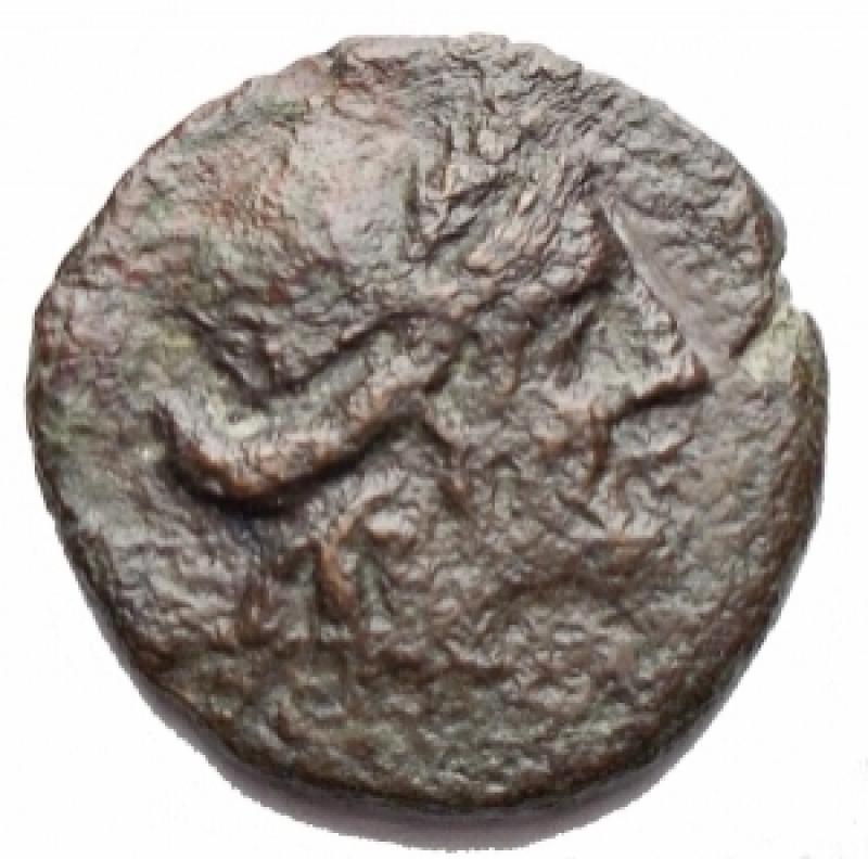 obverse: Mondo Greco -Sicilia.Aitna.Hexas, ca. 210 a.C.D/ Testa di Persefone coronata di spighe a destra.R/ AITNAIN. Cornucopia ornata. A sinistra, due globetti.SNG ANS 1162.AE.g 2.73.mm 16,5.qBB